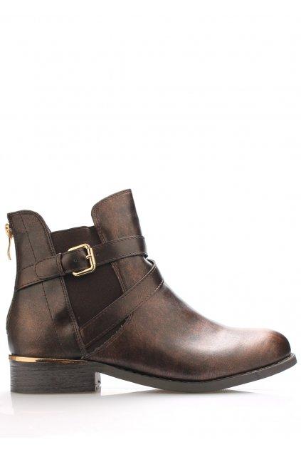 Bronzové boty se zlatým podpatkem Claudia Ghizzani