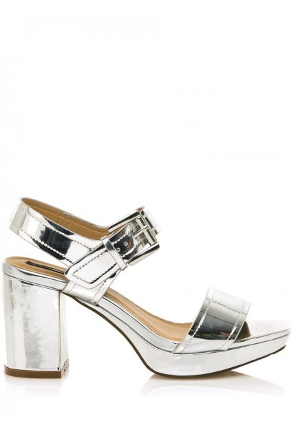 Stříbrné sandály na širokém podpatku MTNG