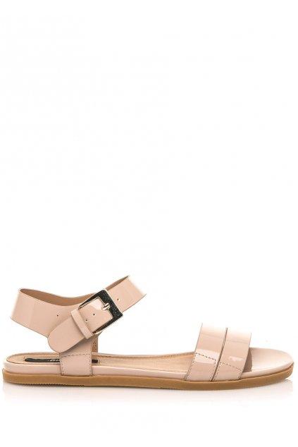 Béžové lesklé nízké sandálky MTNG