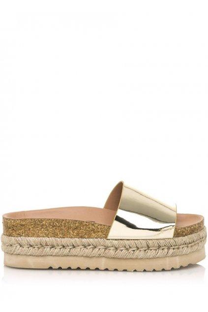 Zlaté pantofle s espadrilovou podrážkou MTNG