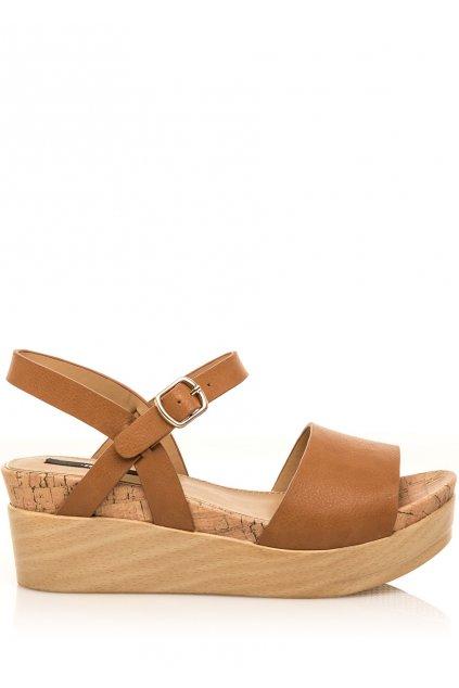 Hnědé letní sandály na dřevěné platformě MTNG