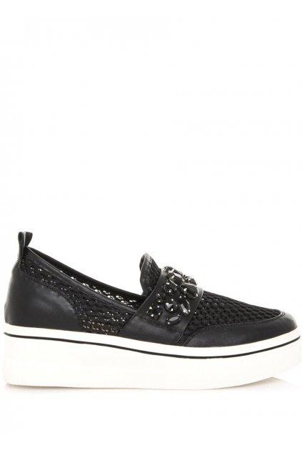Černé nazouvací boty na platformě Maria Mare