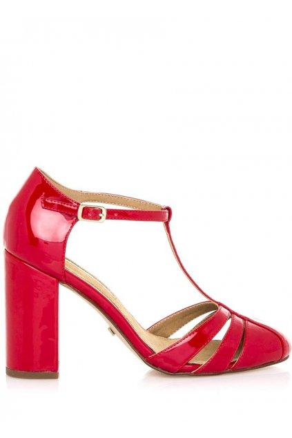 Červené sandály na vyšším širokém podpatku Maria Mare