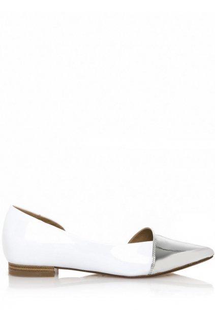 Bílé baleríny se stříbrnou špičkou Maria Mare