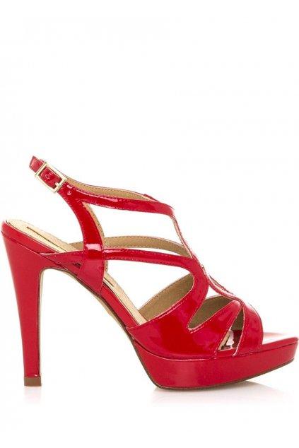 Červené páskové sandály s nízkou platformou Maria Mare