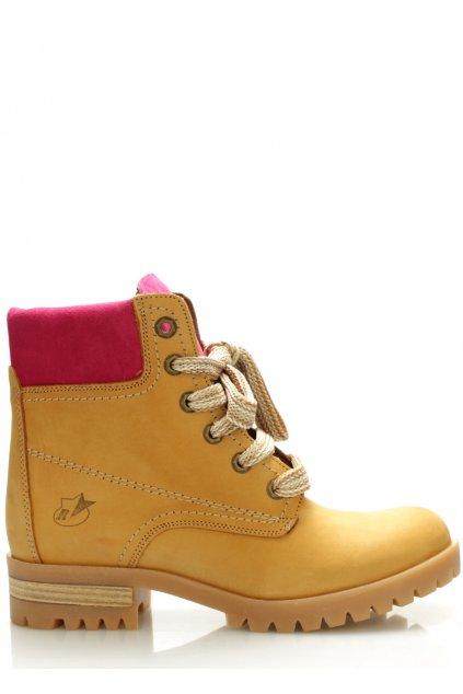 Kožené boty farmářky s růžovým lemem Roobins
