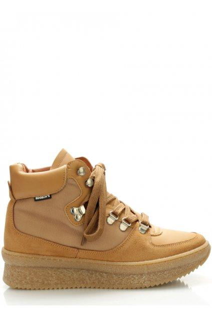 Hnědé kožené boty Roobins
