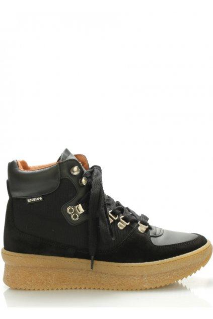 Černé kožené boty Roobins