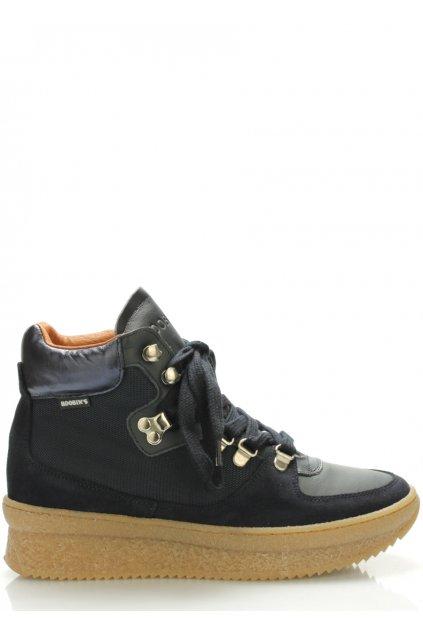Tmavě modré kožené boty Roobins