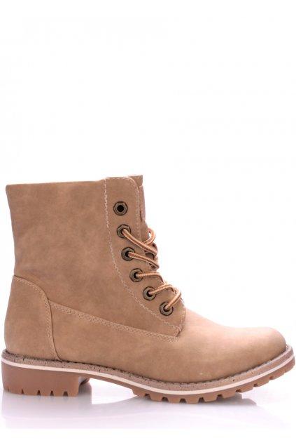 Béžové boty farmářky s kožíškem Canadians