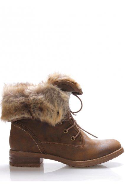 Hnědé ohrnovací boty s kožešinou Monshoe