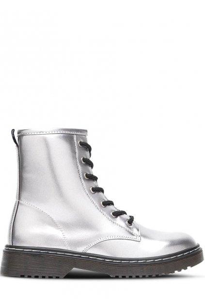Stříbrné kotníkové šněrovací boty Break&Walk