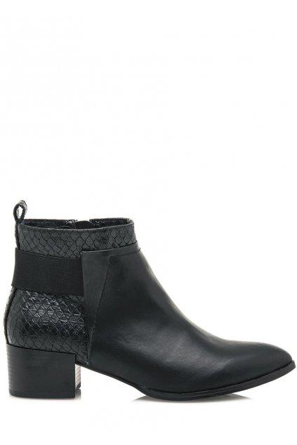 Černé elegantní boty na podpatku Maria Mare
