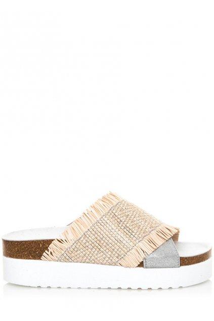Bílo béžové pantofle na vyšší platformě Sixtyseven