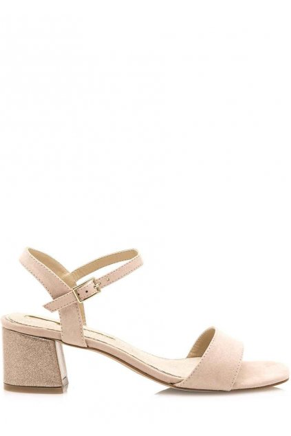 Béžové sandály s širokým podpatkem Maria Mare