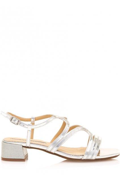 Stříbrné sandály se širokým podpatkem Maria Mare