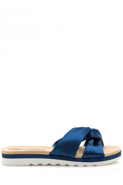 Modré saténové pantofle Maria Mare