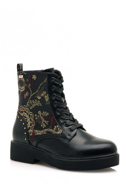 Černé šněrovací kotníkové boty se vzorem MTNG