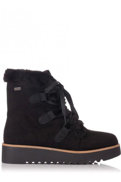 Černé zimní boty na nízkém klínku MTNG