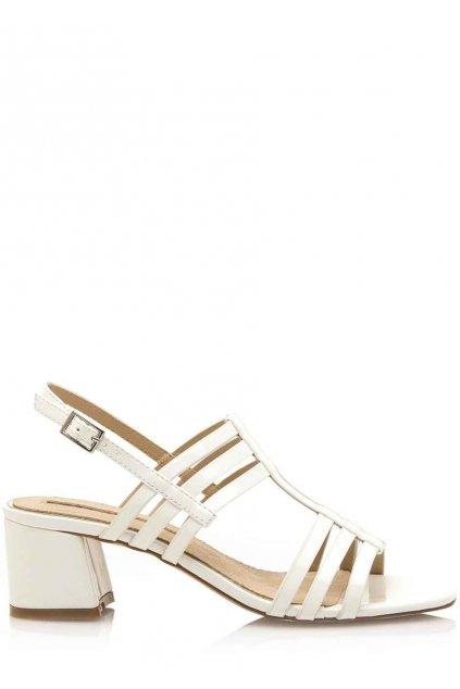 Bílé sandály s širokým podpatkem Maria Mare