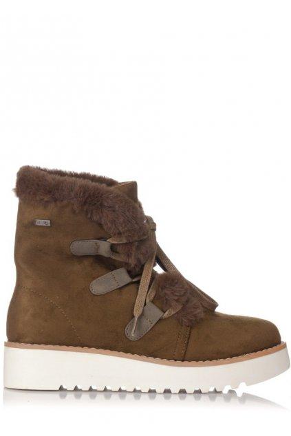 Khaki zimní boty na nízkém klínku MTNG