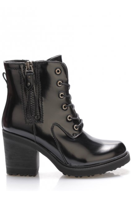 Černé lesklé boty s širokým vyšším podpatkem Claudia Ghizzani