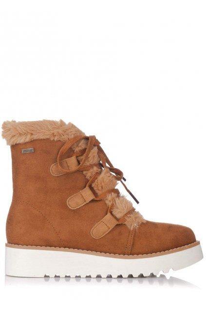 Hnědé zimní boty na nízkém klínku MTNG