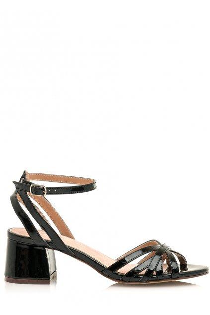 Černé sandálky s nízkým širokým podpatkem Maria Mare
