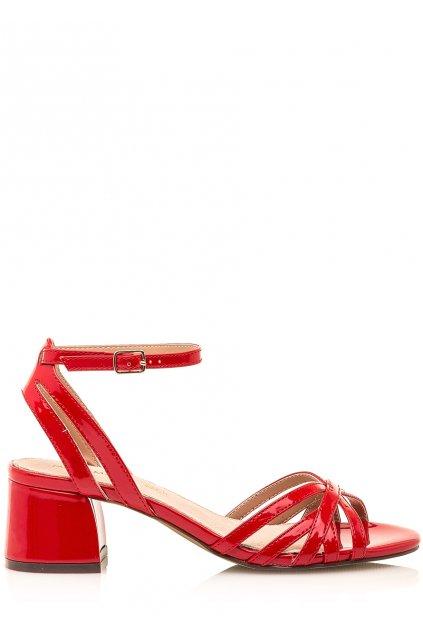 Červené sandálky s nízkým širokým podpatkem Maria Mare
