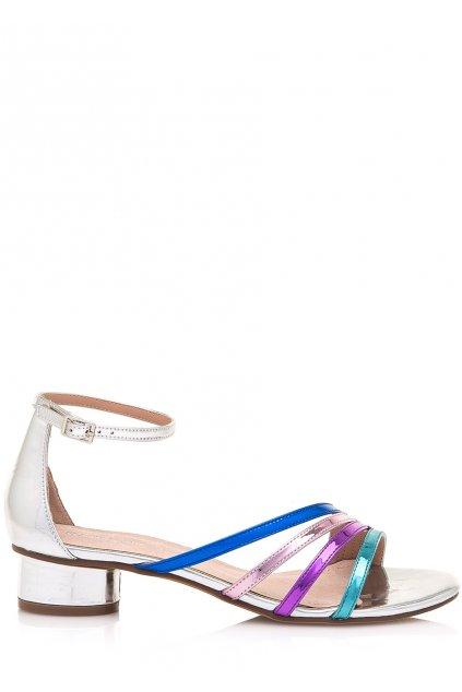 Stříbrné sandálky s barevným pásky Maria Mare