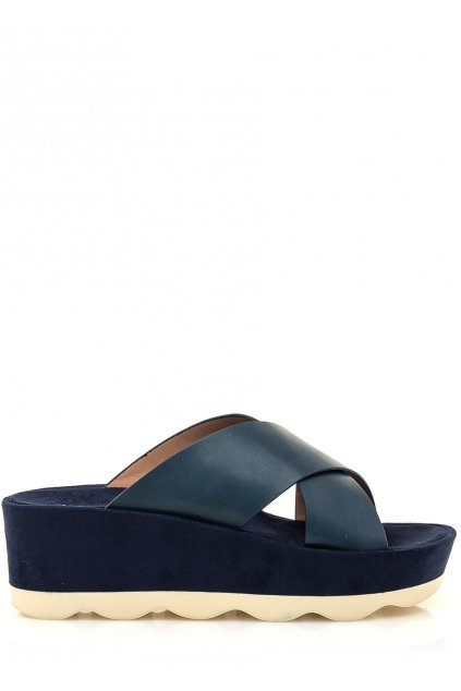 Modré pantofle na vysoké podrážce Maria Mare