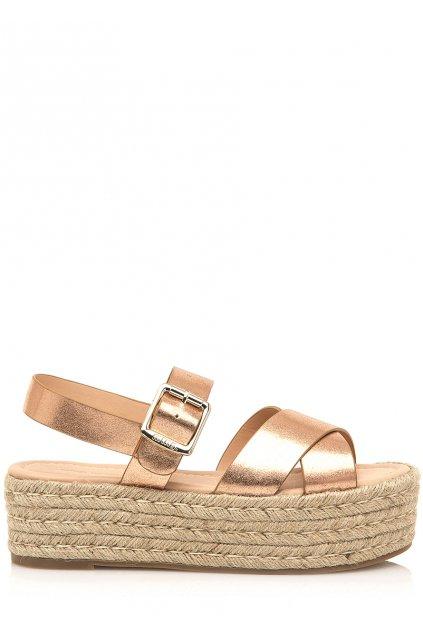 Sandály na vysoké platformě v růžově zlaté MTNG