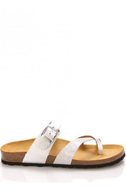stribrno bile kozene zdravotni pantofle emma shoes1