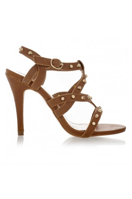 Hnědé sandálky na podpatku Obelia se zlatými cvočky
