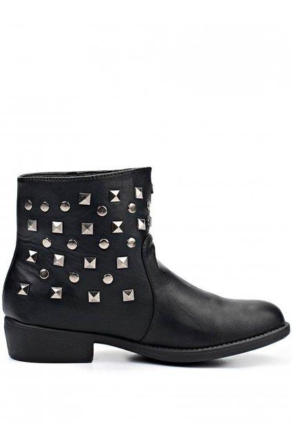 Černé kotníkové boty se cvočky Timeless