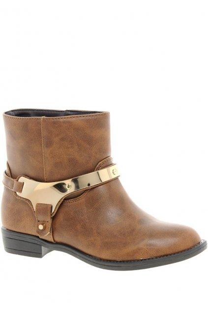 Kožené kotníkové boty Timeless se zlatou přezkou hnědé