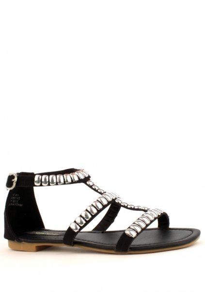 Černé kožené sandály Park Lane se stříbrnými cvočky