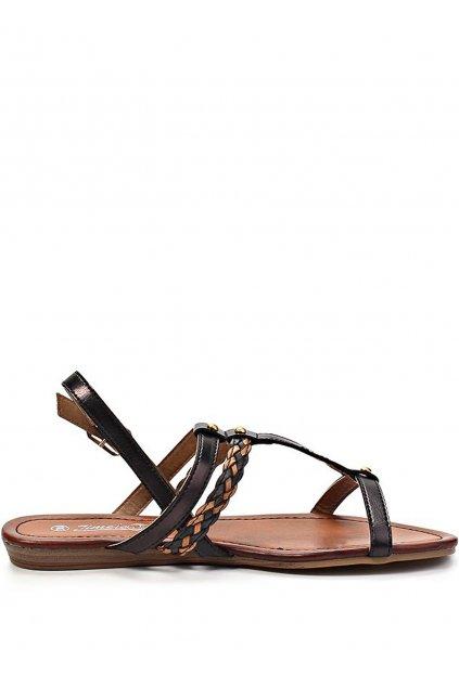 Hnědo-černé páskové vycházkové sandály Timeless