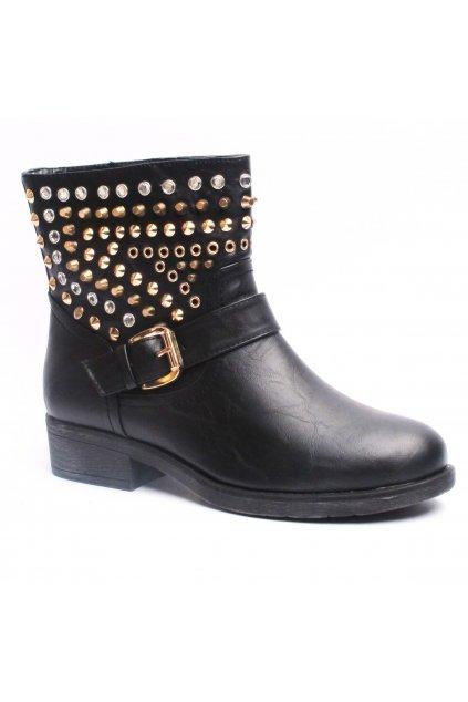 Dámské černé boty nad kotník se cvočky Timeless