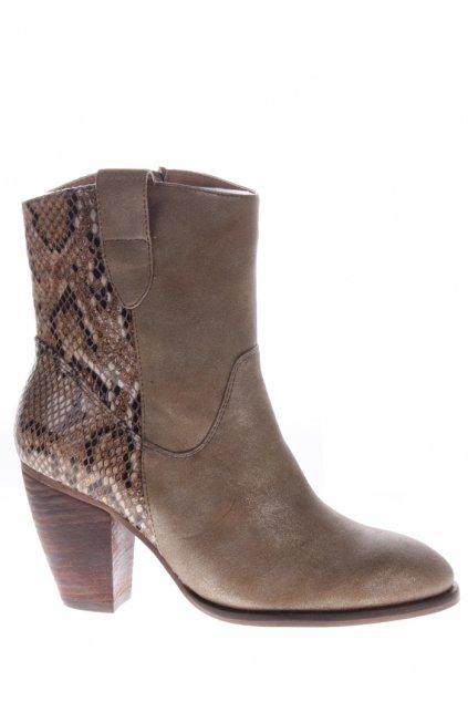 Hnědé hadí boty na podpatku H3 shoes