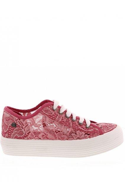Růžové krajkové tenisky s vysokou podrážkou MTNG
