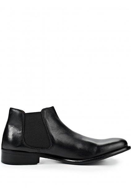 Černé pánské kožené kotníkové boty Paolo Vandini