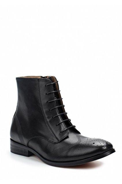 Černé kožené šněrovací boty se zipem Laceys