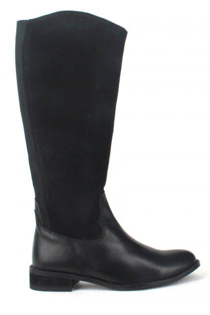 Černé kožené kozačky s elastickou částí Laceys