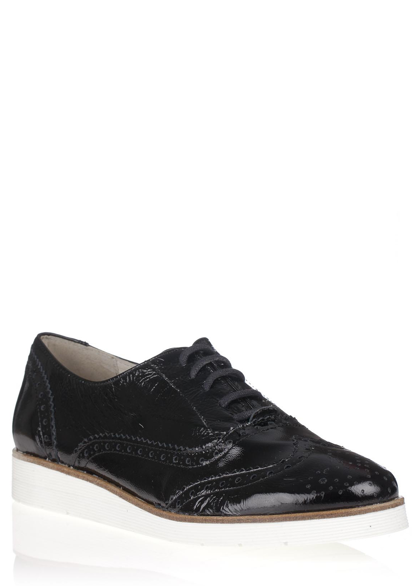 Maria Jaén Černé kožené boty na bílé podrážce María Jaén Velikost: 38