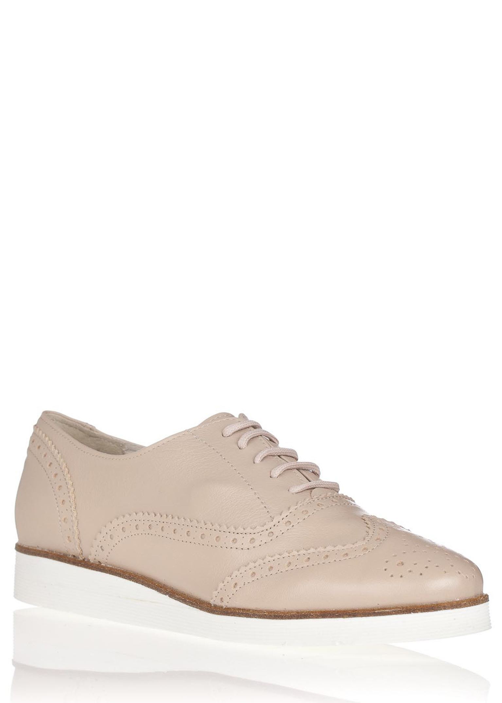 Maria Jaén Béžové kožené boty na bílé podrážce María Jaén Velikost: 36