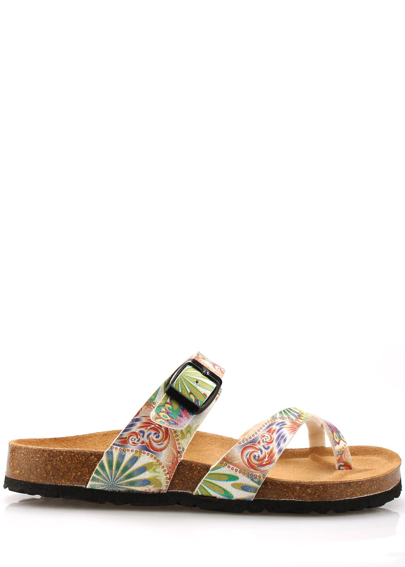 Zdravotní bílé kožené květované pantofle EMMA Shoes Velikost: 36