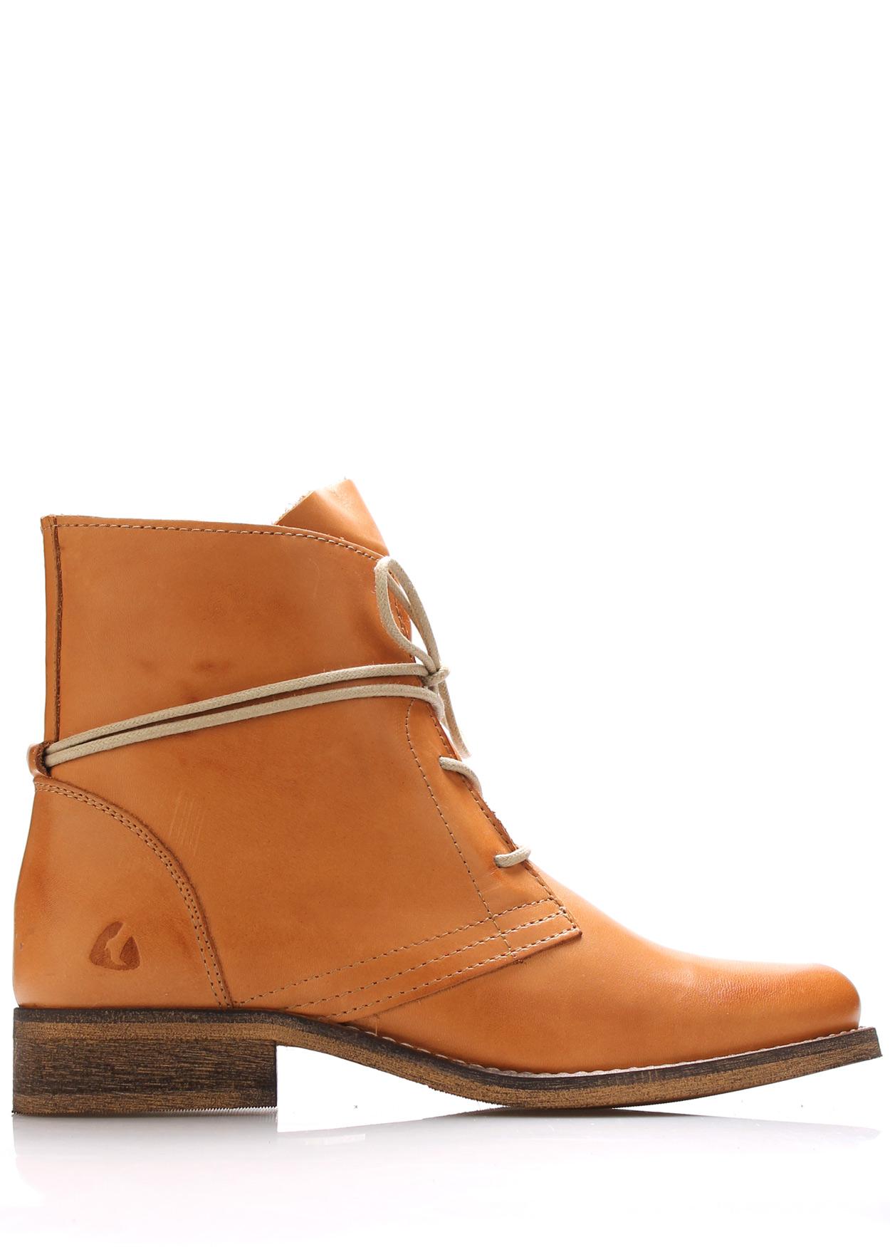 Světle hnědé kožené boty s tkaničkami Online Shoes Velikost: 37