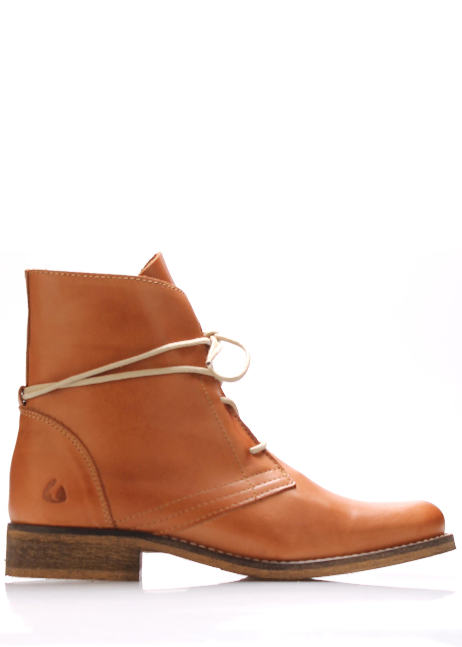 Koňakově hnědé kožené šněrovací boty Online Shoes Velikost: 40
