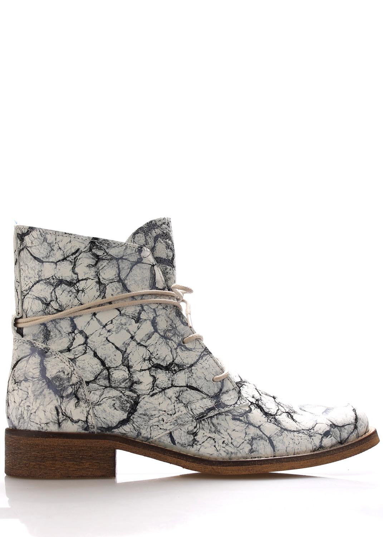 Kožené šněrovací boty se vzorem Online Shoes Velikost: 38